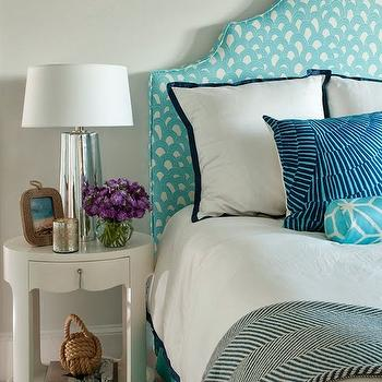 Liz Carroll Interiors - bedrooms - aqua headboard, white and aqua headboard, aqua patterned headboard, aqua bedskirt, aqua bed skirt, aqua blue bedskirt, serena and lily bedding, navy border bedding, navy border shams, navy border bedding, oval nightstand, white oval nightstand, bungalow 5 nightstand 1 drawer nightstand, herringbone throw, teal herringbone throw, rope frame, rope picture frame, mercury glass lamp, aqua bolster pillow,