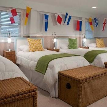 Liz Carroll Interiors - boy's rooms - shared kids room, shared boys room, baby blue headboards, boy headboards, green throws, green throw blankets, trunk at foot of bed, seagrass trunk, woven trunk, mini trunk nightstands,