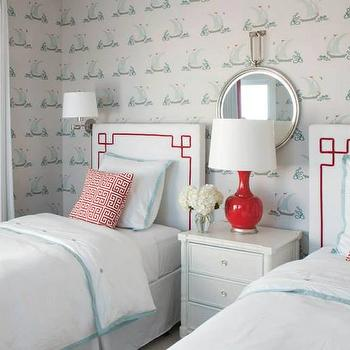Liz Carroll Interiors - girl's rooms - shared kids room, shared kids bedroom, shared girls room, shared girls bedroom, katie ridder wallpaper, greek key headboard, headboard with greek key trim, greek key trim, red lamp, red table lamp, glossy red lamp, serena and lily bedding, kids bedding, aqua border duvet, aqua border bedding, aqua border shams, white and aqua bedding, shared nightstand, bamboo nightstand, white bamboo nightstand, faux bamboo nightstand, ribbon trim curtains, ribbon trim drapes, kids cottage room,
