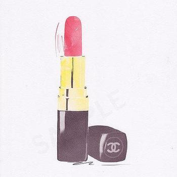 Art/Wall Decor - Red Chanel Lipstick fashion illustration by by RKHercules I Etsy - chanel lipstick wall art, chanel lipstick illustration, chanel lipstick illustration print,