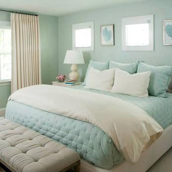Turquoise Quilt, Cottage, bedroom, Liz Carroll Interiors
