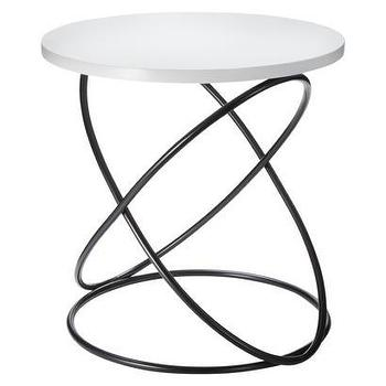 Tables - Nate Berkus Accent Table - White/Black I Target - black wire based accent table, black interlocking circle based accent table, modern black iron based round side table,