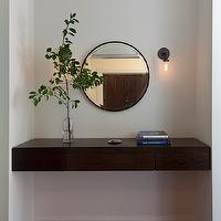 Blair Harris Interior Design - entrances/foyers - foyer nook, foyer alcove, floating table, floating console table, chunky floating table, round mirror,
