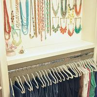 Honey We're Home - closets - how to hang jeans, hanging jeans, jewelry wall, necklace wall, closet jewelry wall, closet necklace wall, walk in closets, how to store jewelry, necklace storage,