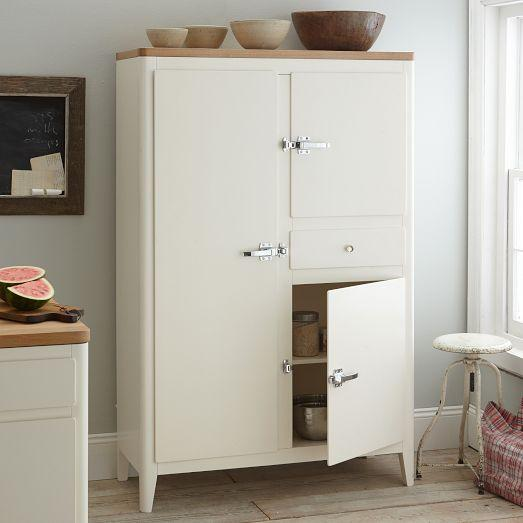 Cabin kitchen armoire white west elm - West elm bathroom storage ...