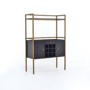 Storage Furniture - Addison Bar | West Elm - mid century style bar, black and brass bar cabinet, brass framed bar cabinet, modern brass bar cabinet,