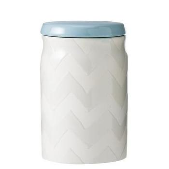 Decor/Accessories - Threshold Ceramic Small Food Canister - White/Blue I Target - white chevron kitchen canister, white ceramic chevron kitchen canister, chevron kitchen canister with blue lid,