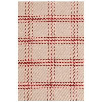Rugs - Bunny Williams for Dash & Albert Cooper Red Jute Woven  I Layla Grayce - beige and red plaid rug, beige and red plaid jute rug, plaid jute rug,
