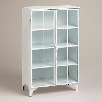 Storage Furniture - White Giselle Double Cabinet | World Market - white metal cabinet, white metal glass front cabinet, white metal vintage style cabinet, metal and glass bathroom cabinet,