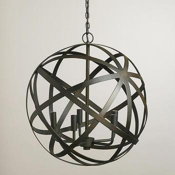 Lighting - Metal Orb Chandelier | World Market - metal orb chandelier, iron orb chandelier, industrial orb chandelier, iron armillary chandelier,