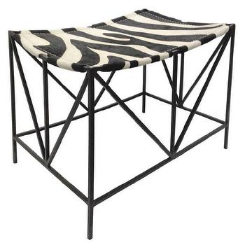 Seating - Oly Studio Darius Stool I Layla Grayce - zebra print stool, iron based zebra print stool, geometric iron based stool with zebra seat,