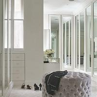 closets - bi fold doors, mirrored bi fold doors, closet doors, mirrored closet doors, closet double doors, round gray ottoman, gray tufted ottoman, gray velvet tufted ottoman, contemporary closets,