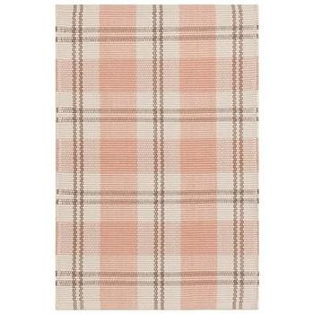 Rugs - Bunny Williams for Dash & Albert Molly Indoor/Outdoor Rug I Layla Grayce - coral pink and taupe plaid rug, pink and taupe plaid rug, pink and taupe indoor outdoor plaid rug, coral pink and taupe plaid indoor outdoor rug, plaid indoor outdoor rug,