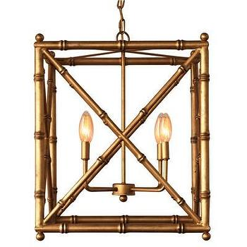 Lighting - Scalamandre Maison Baldwin Gold Chandelier I Layla Grayce - gold faux bamboo chandelier, gold rectangular faux bamboo chandelier, gold criss cross faux bamboo chandelier, gold faux bamboo lantern pendant,