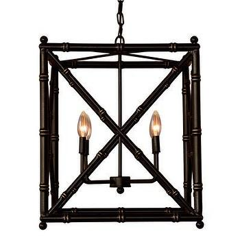 Lighting - Scalamandre Maison Baldwin Black Chandelier I Layla Grayce - black faux bamboo chandelier, black rectangular faux bamboo chandelier, black gold criss cross faux bamboo chandelier, black faux bamboo lantern pendant,