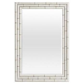 Mirrors - Redford House Hemingway Mirror I Layla Grayce - white bamboo mirror, white faux bamboo mirror, faux bamboo mirror, rectangular white faux bamboo mirror,