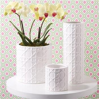 Decor/Accessories - Lattice Planter Set of 3 I Layla Grayce - lattice white planter, cane patterned white planter, geometric patterned white planter,