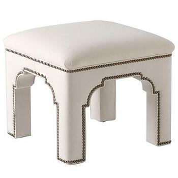 Seating - Bunny Williams Home Taj Stool I Layla Grayce - indian shaped upholstered stool, mughal inspired upholstered stool, white upholstered stool with nailhead trim,