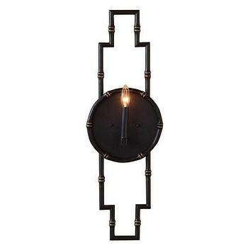 Lighting - Scalamandre Maison Baldwin Black Wall Sconce I Layla Grayce - black faux bamboo wall sconce, black bamboo wall sconce, black geometric faux bamboo wall sconce,