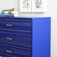 Natty by Design - boy's rooms - Benjamin Moore - Admiral Blue - cobalt blue dresser, cobalt blue mid century dresser, cobalt blue mid century modern dresser, bright blue dresser, cobalt blue vintage dresser, blue vintage dresser, blue dresser with brass hardware, cobalt blue dresser with brass hardware, art over dresser, framed art over dresser, cobalt blue chest,