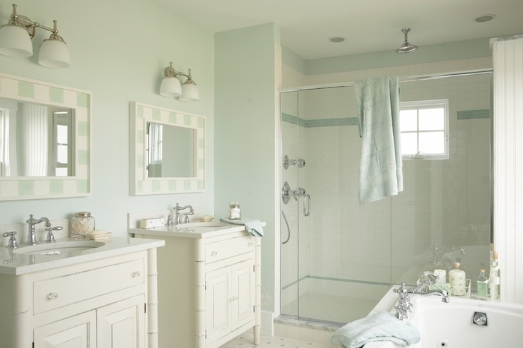 Seafoam blue paint colors cottage bathroom martha for Martha stewart bathrooms