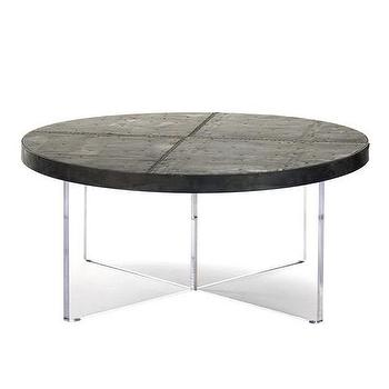 Tables - Relay Reclaimed Coffee Table | Vielle and Frances - round zinc coffee table, round zinc topped coffee table with acrylic base, acrylic coffee table with round zinc top,