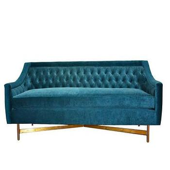 Seating - Kelly Tufted Sofa | Vielle and Frances - teal velvet sofa, teal velvet tufted sofa, teal velvet button tufted sofa, teal velvet sofa with brass base, teal button tufted sofa with brass base,