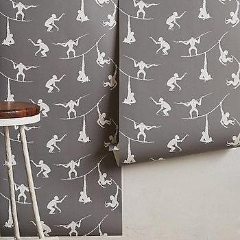 Wallpaper - Primate Sequence Wallpaper I anthropologie.com - monkey wallpaper, gray and white monkey wallpaper, monkeys on a tightrope wallpaper,
