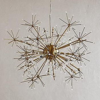 Lighting - Dandelion Orbit Chandelier I anthropologie.com - dandelion shaped chandelier, brass flower shaped chandelier, brass sputnik style chandelier,