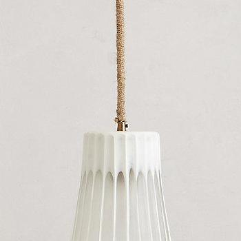 Lighting - Rackliff Rope Pendant Lamp I anthropologie.com - white pendant with rope cord, white glass pendant with rope cord, white fluted glass pendant with rope cord,