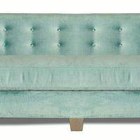 Seating - Kelly Tufted Curve Sofa | Vielle and Frances - tiffany blue velvet sofa, tiffany blue velvet tufted sofa, duck egg blue velvet sofa, duck egg blue velvet tufted sofa,