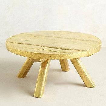 Tables - Turnstool Coffee Table I anthropologie.com - round gold coffee table, metallic gold coffee table, round metallic gold coffee table,