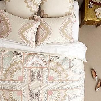 Bedding - Ananda Duvet I anthropologie.com - pink and beige embroidered bedding, pink and beige embroidered bed linens, pink and beige geometric embroidered bedding,