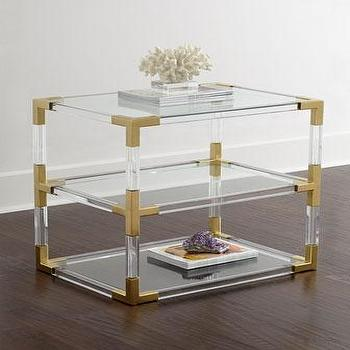 Jonathan Adler Jacques Lucite Two-Tier Table I Horchow