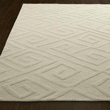 Rugs - Diamond Maze Rug I Horchow - tone on tone white greek key rug, white greek key rug, ivory greek key rug,