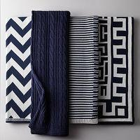 Decor/Accessories - Navy and White Cotton Throws I Horchow - navy and white chevron throw blanket, navy cable knit throw blanket, navy and white striped throw blanket, navy and white greek key throw blanket,