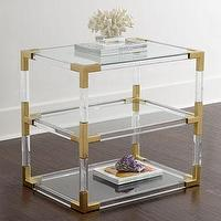 Tables - Jonathan Adler Jacques Lucite Two-Tier Table I Horchow - lucite and brass side table, lucite two tier side table with brass trim, lucite and brass side table with shelf,
