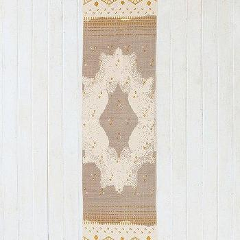 Rugs - Magical Thinking Mirrored Medallion Handmade Runner I Urban Outfitters - gray gold and ivory rug runner, gray gold and cream medallion rug runner, neutral medallion motif rug runner,