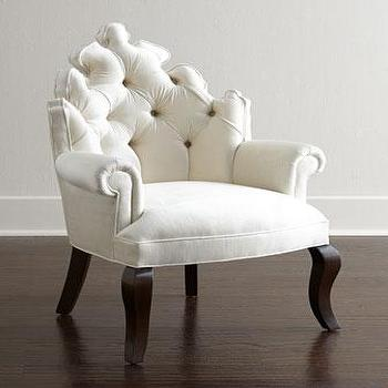 Seating - Haute House Isabella Chair I Horchow - white button tufted chair, ornate white button tufted chair, white button tufted armchair,