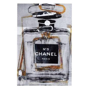 Art/Wall Decor - Infinite Glam | Z Gallerie - modern chanel perfume bottle art, chanel perfume bottle art, black gray and gold chanel perfume art,