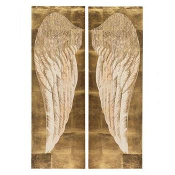 Art/Wall Decor - Angel's Wing Panel - Set of 2 | Z Gallerie - gold angel wing wall art, gold angel wing wall art, gold carved angel wing wall decor,