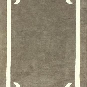 Rugs - Centro 100% Wool Area Rug in Taupe design by NuLoom I Burke Decor - taupe rug with white border, taupe rug with modern white border, gray taupe rug with white border,