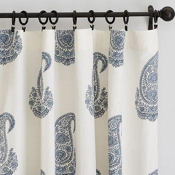 Window Treatments - Rayna Paisley Drape | Pottery Barn - blue paisley drapes, blue and white paisley drapes, blue and white paisley curtains, blue indian paisley drapes, blue indian paisley curtains,