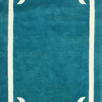 Rugs - Centro 100% Wool Area Rug in Aqua design by NuLoom I Burke Decor - teal blue rug, teal blue rug with white border, teal rug with white border,