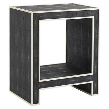 Tables - DwellStudio Jacqueline Side Table | DwellStudio - ebony faux shagreen side table, black faux shagreen side table, ebony faux shagreen parsons side table,