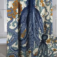 Bath - Octopus Vineyard Shower Curtain in Goldenrod design by Thomas Paul I Burke Decor - octopus and flowers shower curtain, blue and orange octopus shower curtain, blue octopus shower curtain with orange flowers,