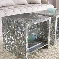 Tables - Bernhardt Abalone Side Table I Horchow - abalone shell side table, silver mosaic side table, abalone shell mosaic side table,