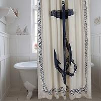 Bath - Anchor Shower Curtain in Ink design by Thomas Paul I Burke Decor - anchor shower curtain, anchor shower curtain with rope border, navy anchor and rope shower curtain,