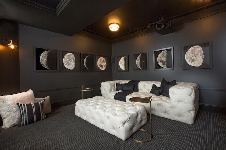 Wall Decor Movie Room : White tufted sofa contemporary media room