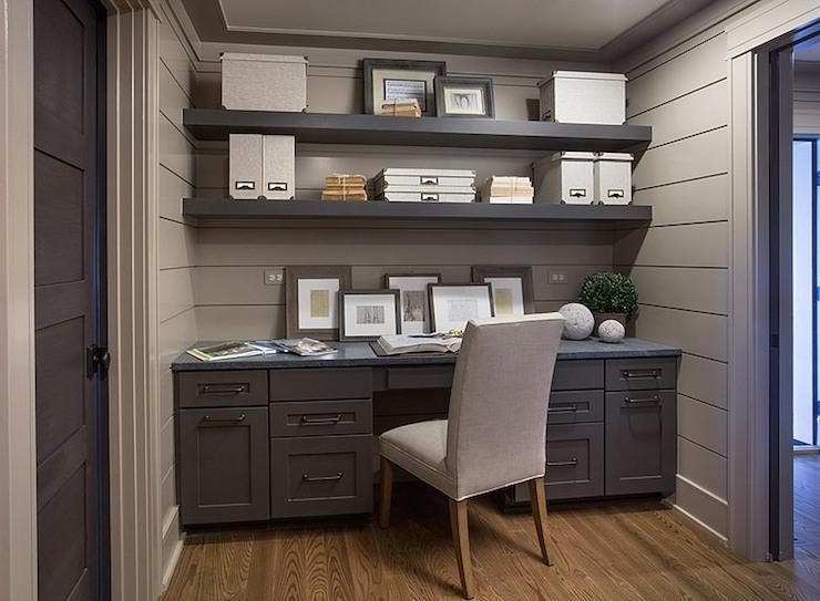 Gray built in desk transitional den library office for Benjamin moore office